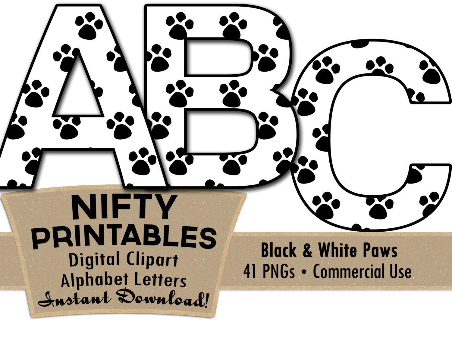 1500x1150 Paw Prints Alphabet Letters Set Black And White Animal