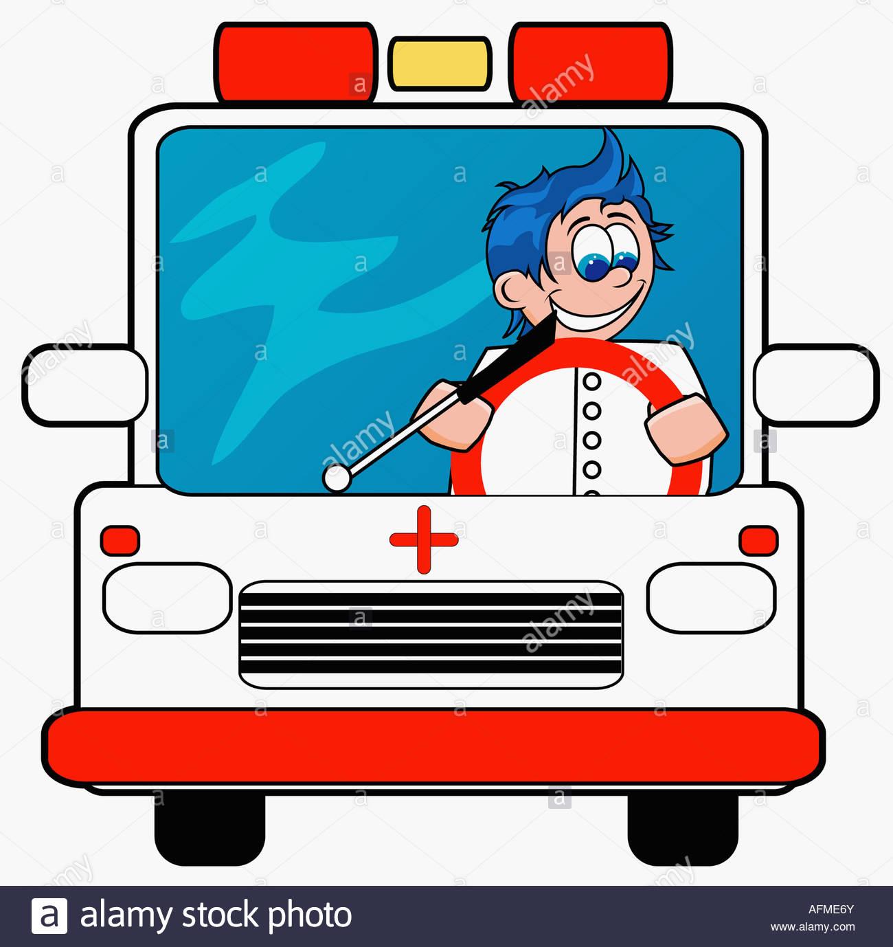1300x1378 Ambulance Driver Driving An Ambulance Stock Photo, Royalty Free