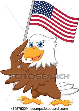 335x470 Clip Art Of Eagle Cartoon Holding American Flag K14575009