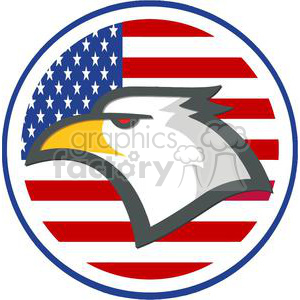 300x300 Royalty Free American Eagle In Front Of Usa Flag In A Circle
