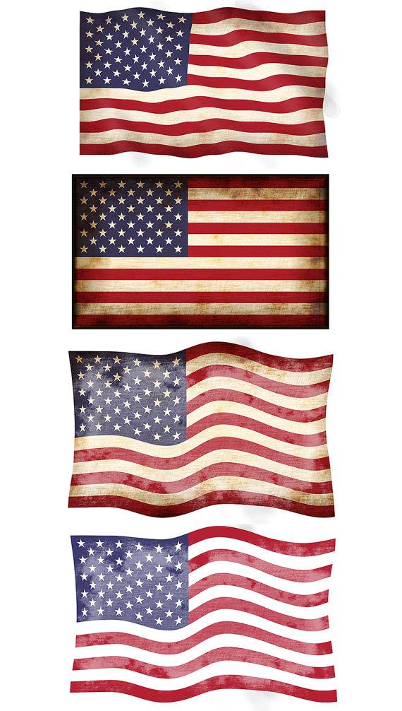 570x1006 Digital Png Jpg American Flag Clipart, 4 Vintage American Flags