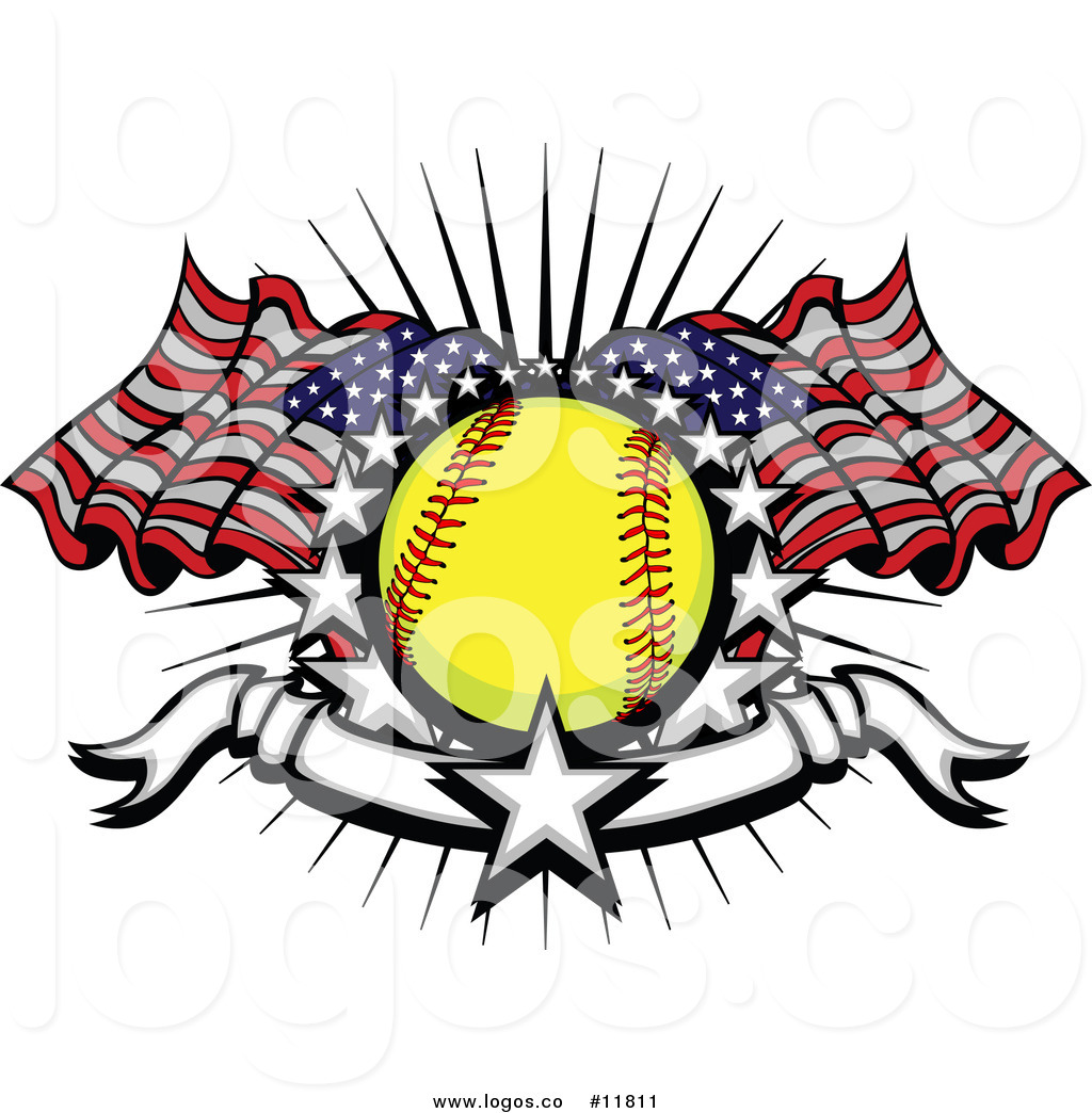 1024x1044 Royalty Free Vector Of Softballndmerican Flags Starsnd