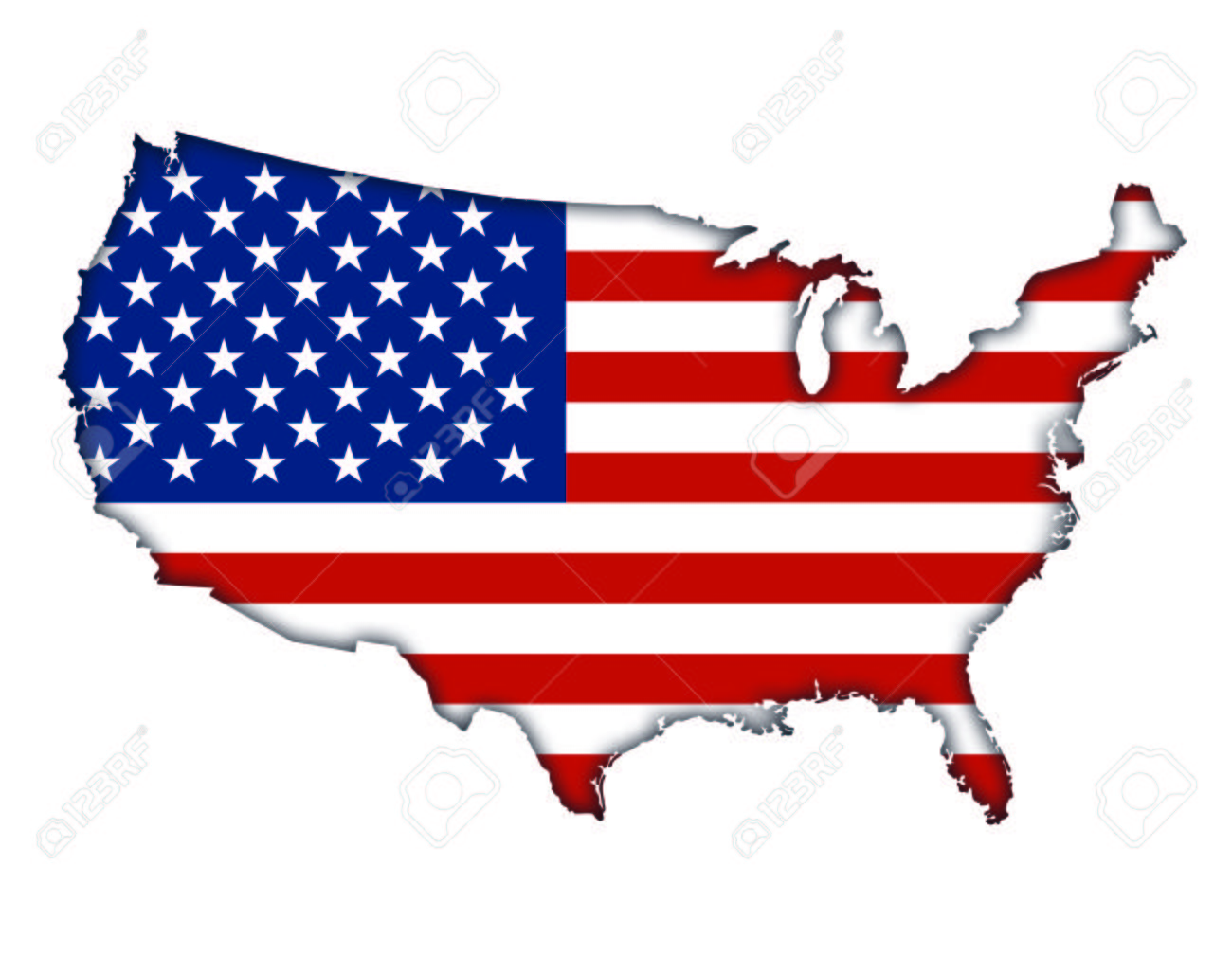 1300x1009 American Flag Banner Map Icon Of Usa Stock Photo, Picture