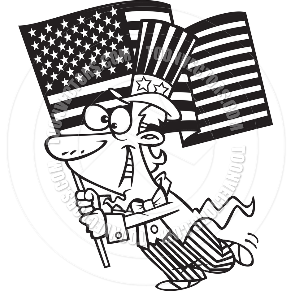 940x940 Cartoon Uncle Sam With American Flag (Black And White Line Art) By