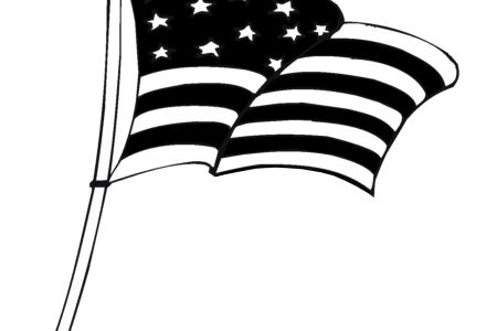450x300 Clipart Of American Flag In Black And White