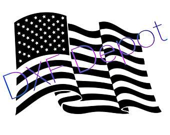 340x270 American Flag Heart Dxf Format. Cnc Cut File Vector Art