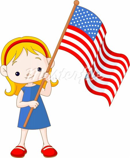 American flag kid. Cartoon clipart free download