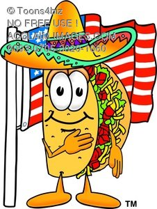 226x300 Clipart Illustration Cartoon Taco Character With American Flag