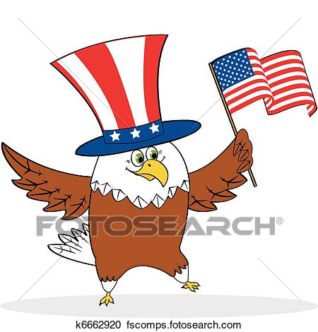 450x470 Clipart Of Cartoon Patriotic Eagle Holding American Flag K6662920