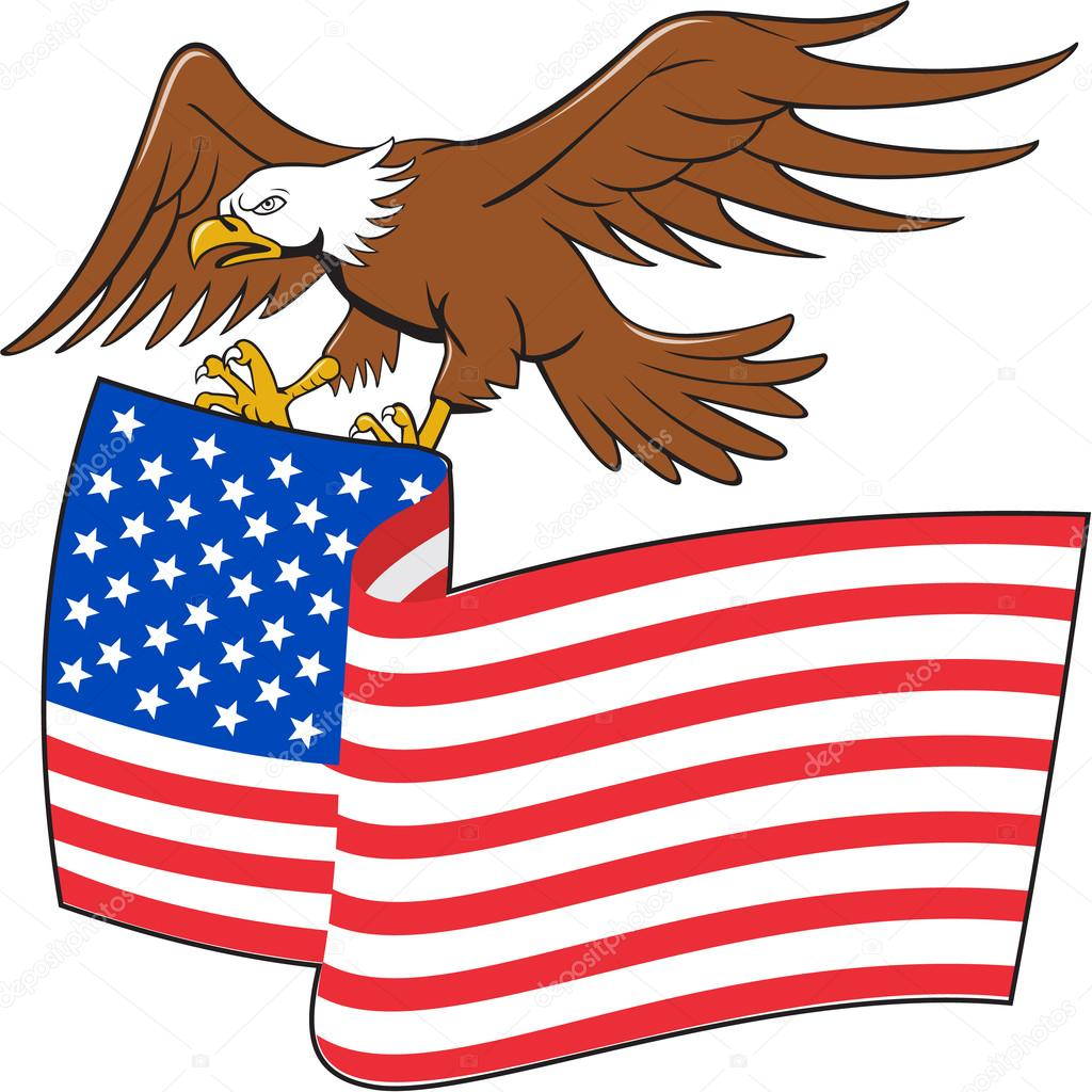 1024x1024 American Bald Eagle Carrying Usa Flag Cartoon Stock Vector