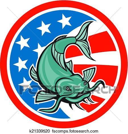 450x470 Clipart Of Catfish Swimming American Flag Circle Cartoon K21339520