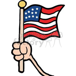300x300 Royalty Free Hand Waving An American Flag On Independence Day
