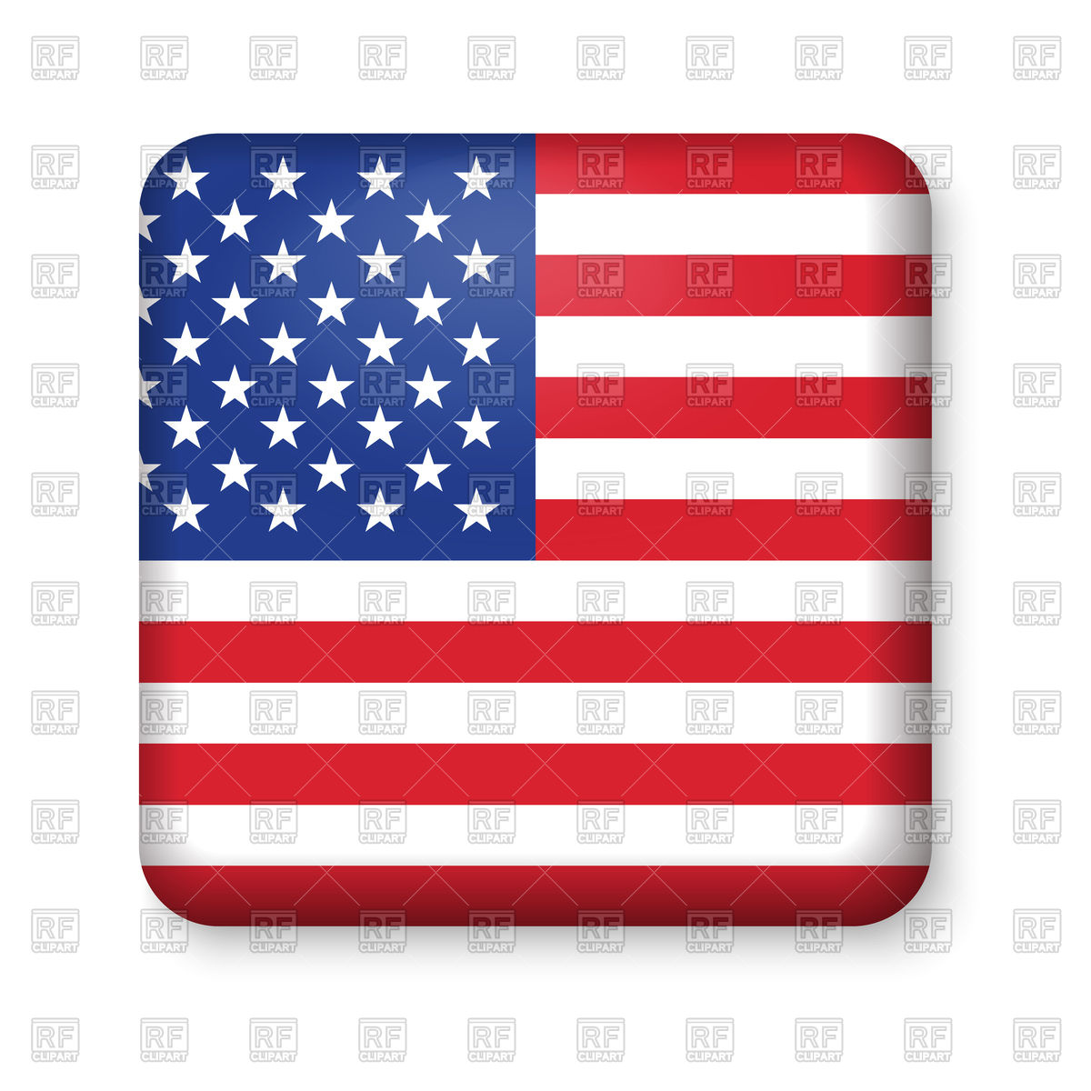 1200x1200 American Flag In Glossy Square Button Royalty Free Vector Clip Art