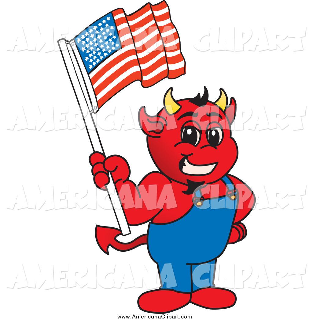 1024x1044 Americana Vector Cartoon Clip Art Of A Red Devil Mascot Holding
