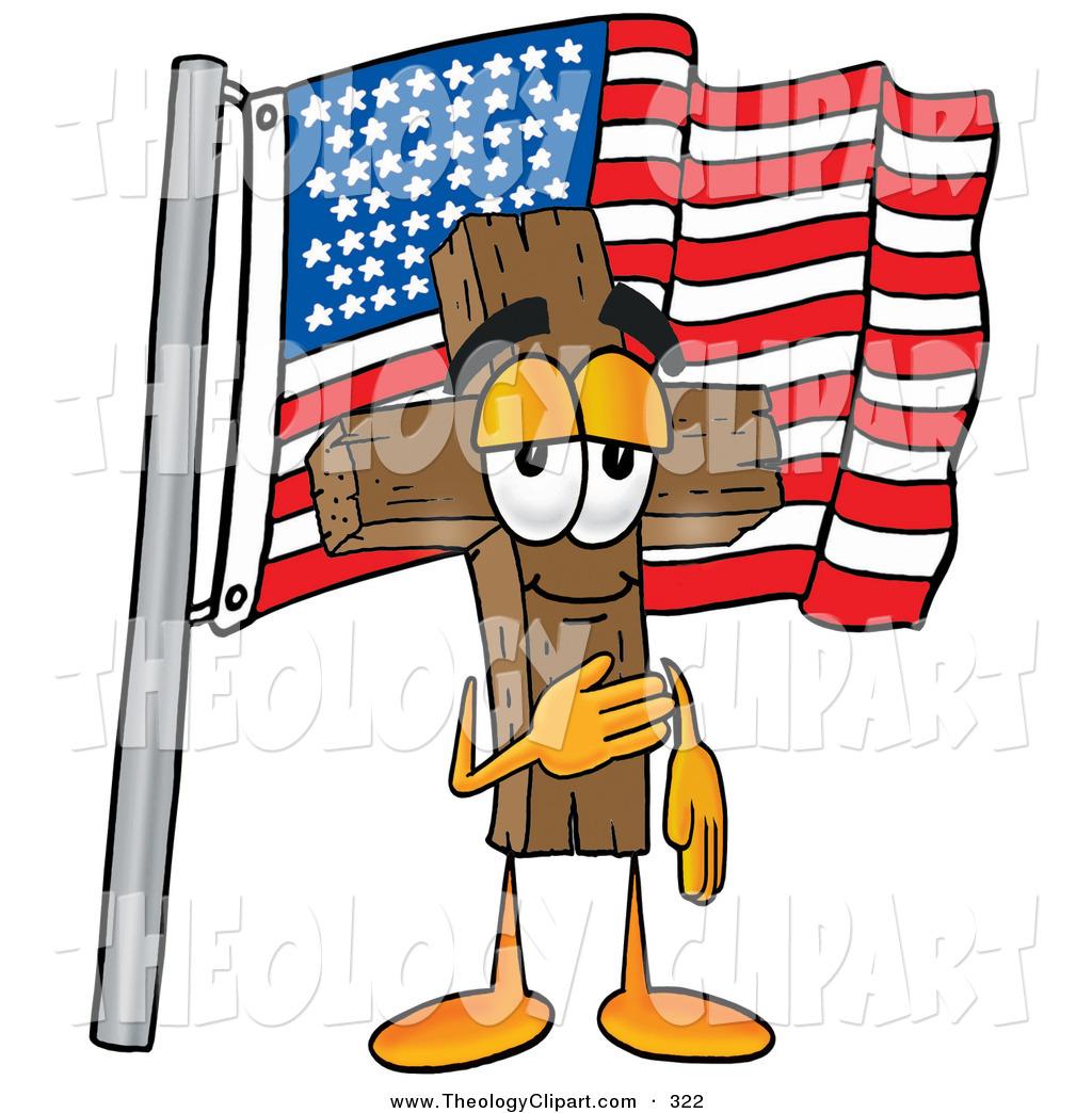 1024x1044 Clip Art Of A Happy Wooden Cross Mascot Cartoon Character Pledging
