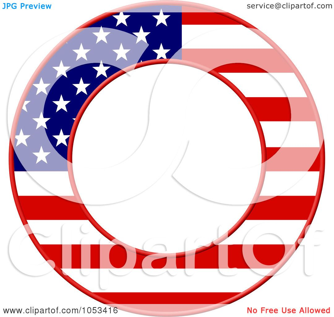 1080x1024 Royalty Free Clip Art Illustration Of A Round American Flag Border