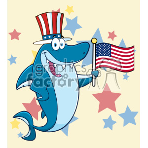 300x300 Royalty Free Clipart Happy Blue Shark Cartoon With Patriotic Hat