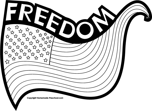 American Flag Clipart Black And White