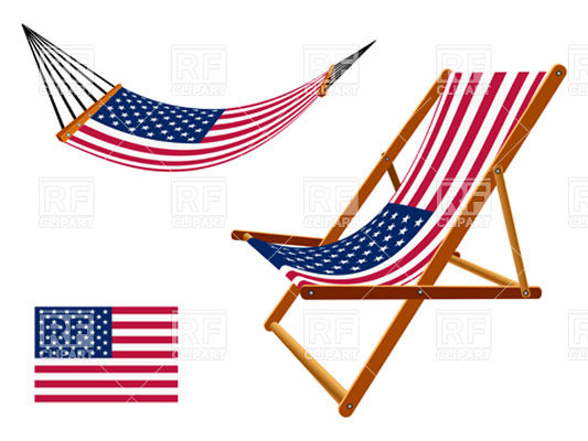 533x400 Usa Flag Hammock And Deck Chair Royalty Free Vector Clip Art Image