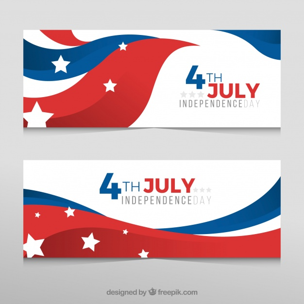 626x626 Decorative Banners With Wavy American Flag For Independence Day