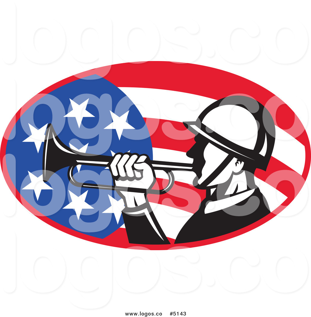 1024x1044 Royalty Free Vector Of A Soldier Playing A Bugle Over An American