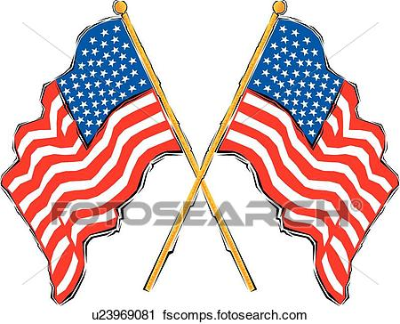 450x364 Clipart Of American Flags U23969081