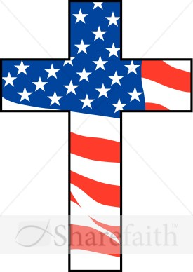 275x388 Cross With American Flag Independence Day Clipart