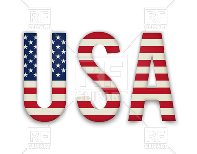 400x313 Word Usa With American United States Flag Royalty Free Vector Clip