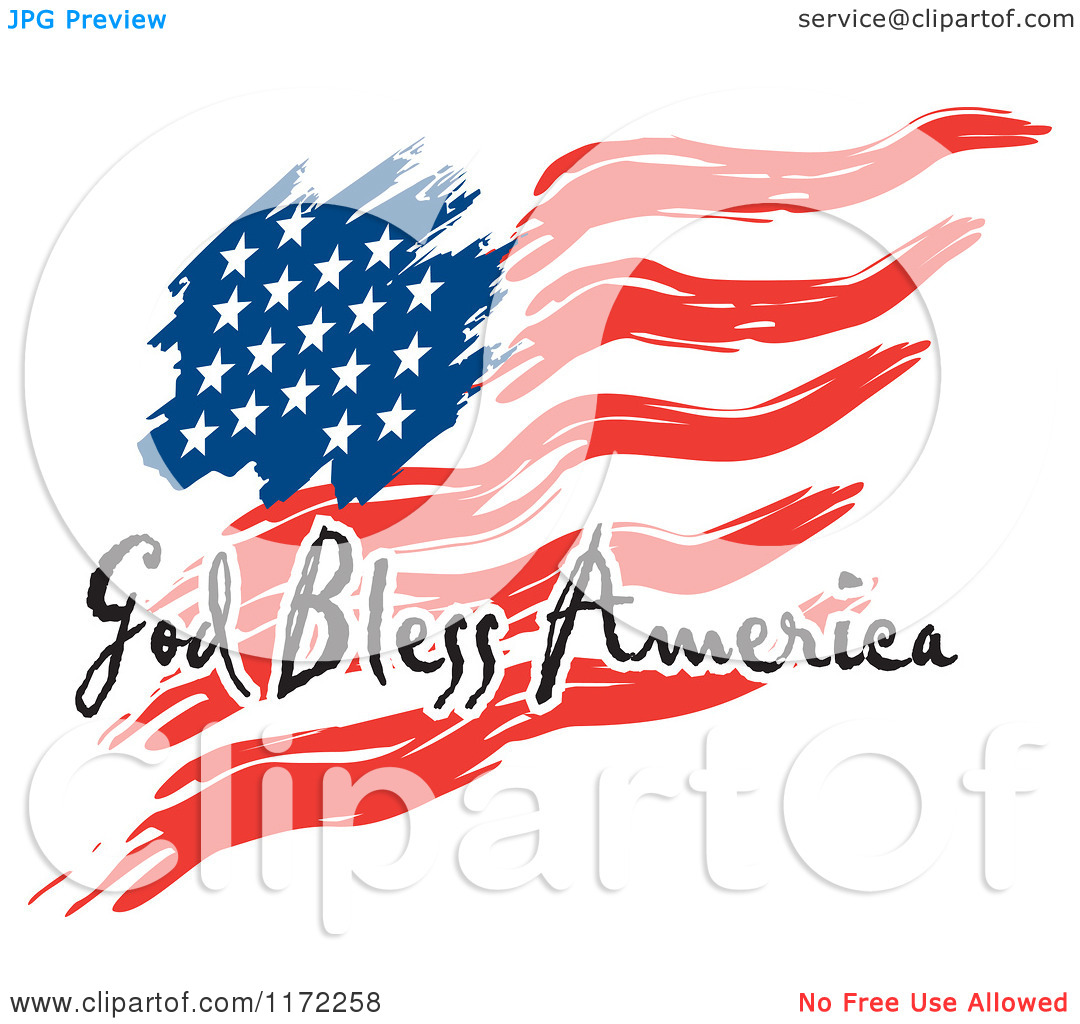 1080x1024 American Flag Waving Clipart