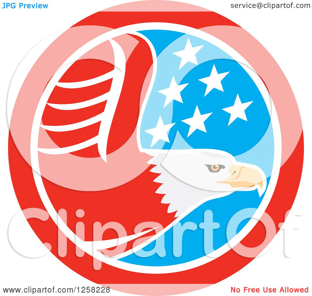 1080x1024 Clipart Of A Flying Bald Eagle In An American Flag Circle
