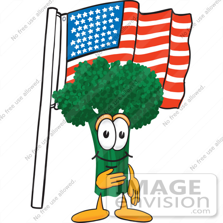 450x450 Clip Art Graphic Of A Broccoli Mascot Character Pledging