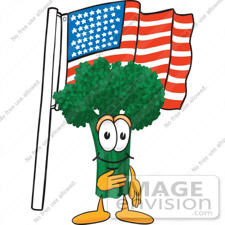 450x450 Clip Art Graphic Of A Broccoli Mascot Character Pledging