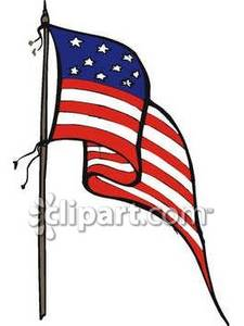 225x300 American Flag On A Flag Pole Royalty Free Clipart Picture