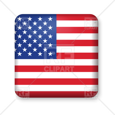 400x400 American Flag In Glossy Square Button Royalty Free Vector Clip Art