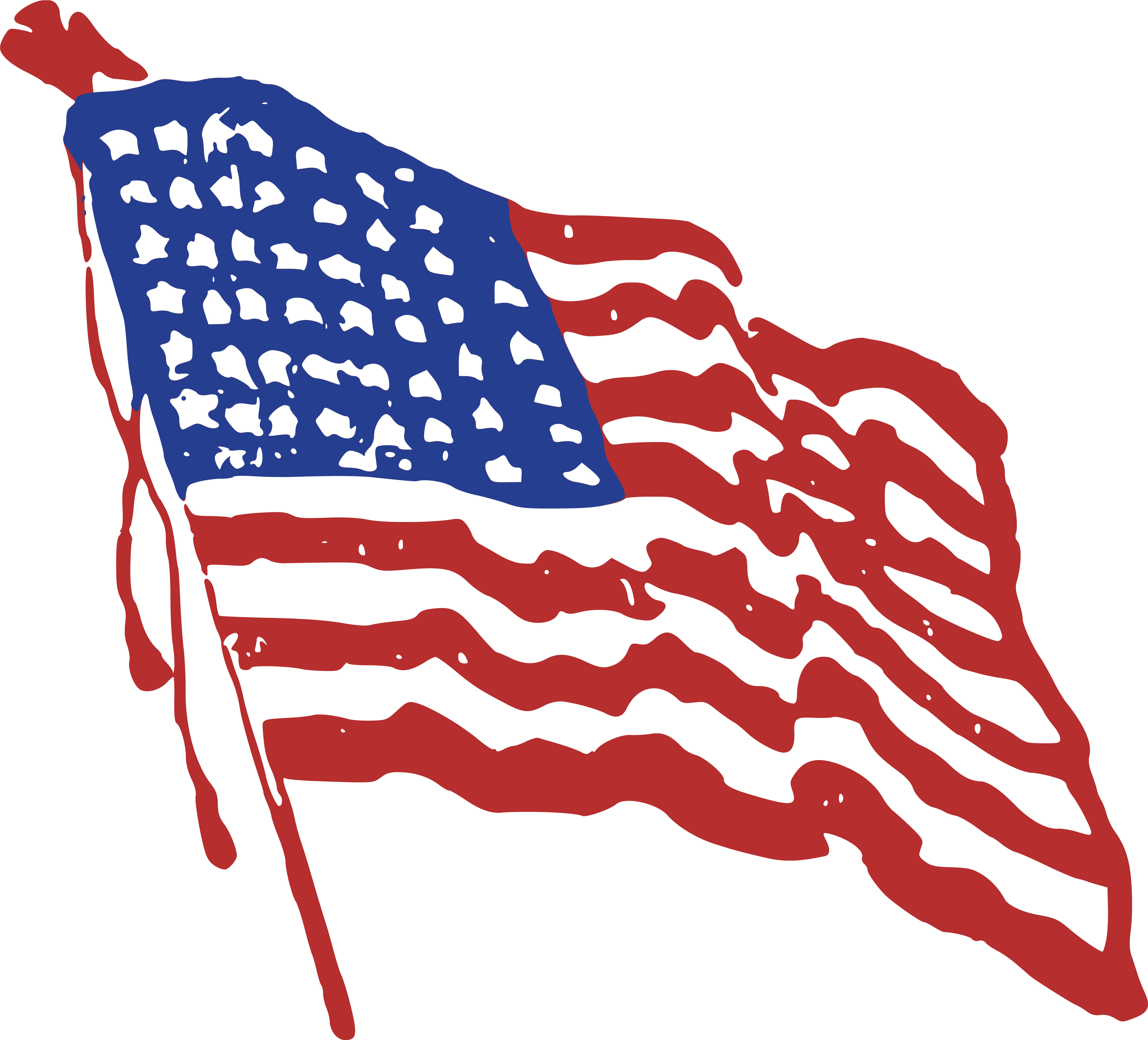 4000x3624 Clipart Of A Rippling American Flag