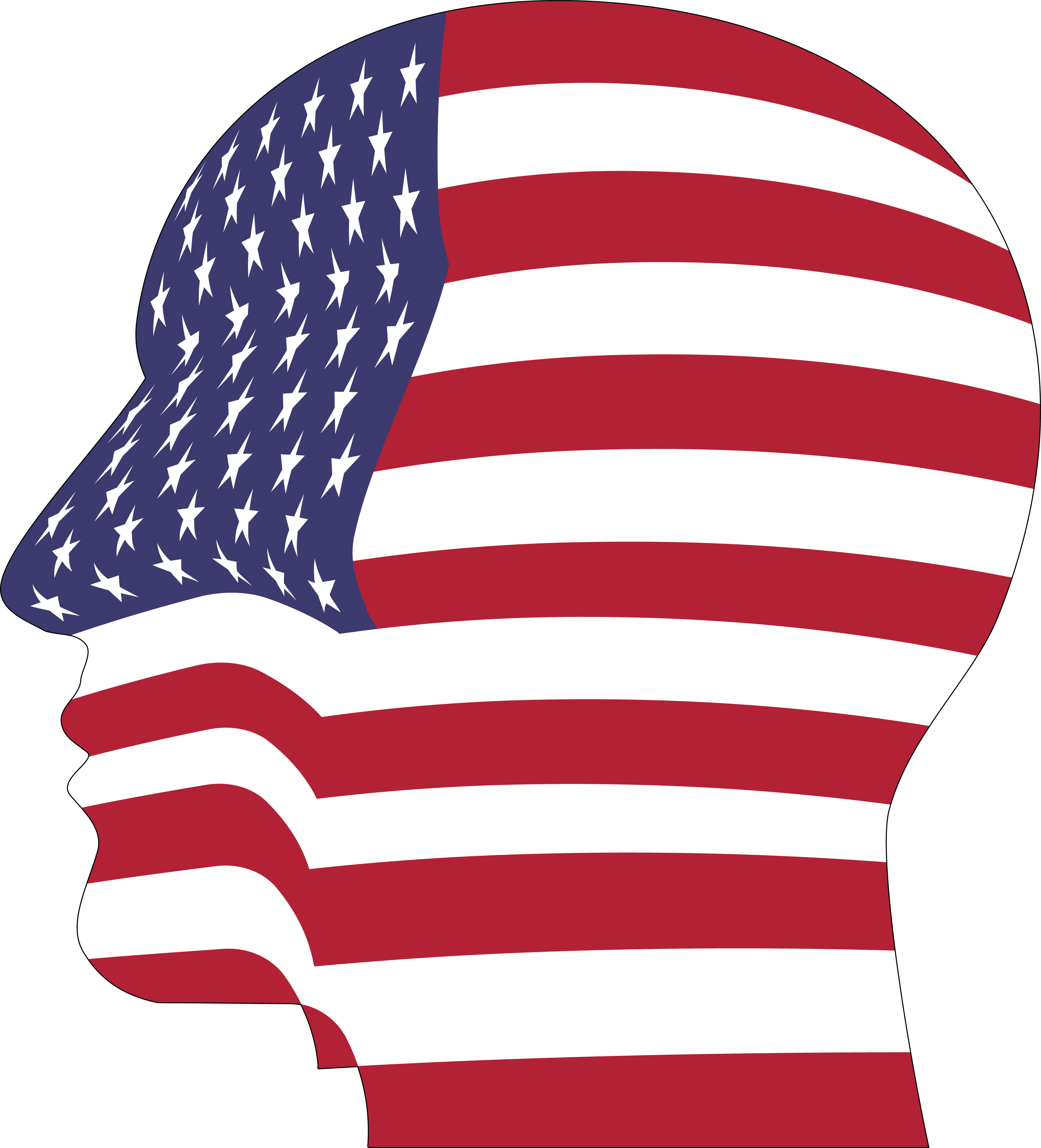 4000x4412 Clipart Of A Profiled Head With An American Flag Pattern