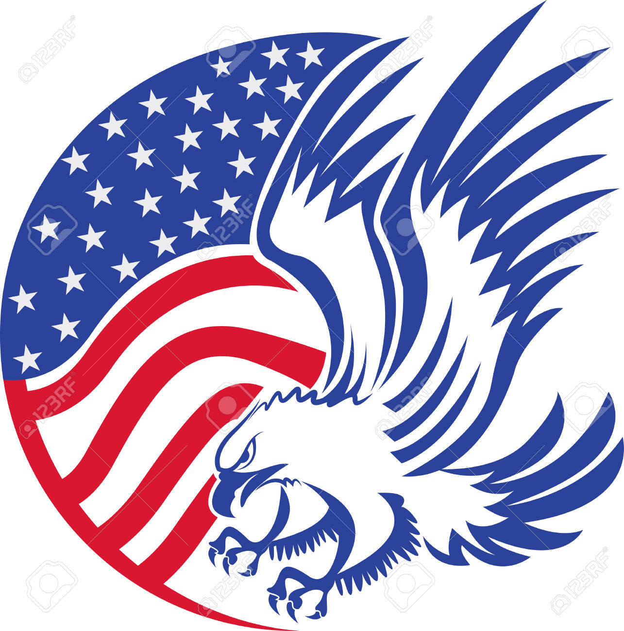 1285x1300 Drawn Bald Eagle Flag Clip Art