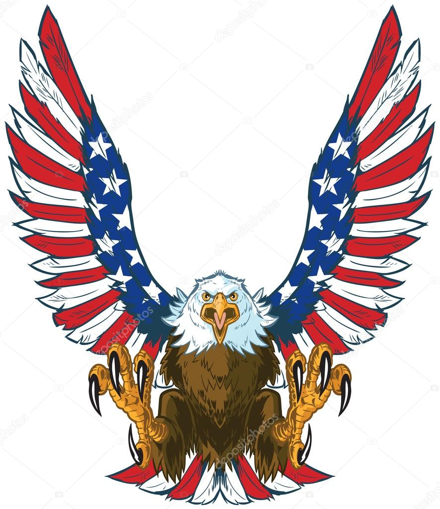 886x1024 Screaming Eagle With American Flag Wings Vector Clip Art Stock