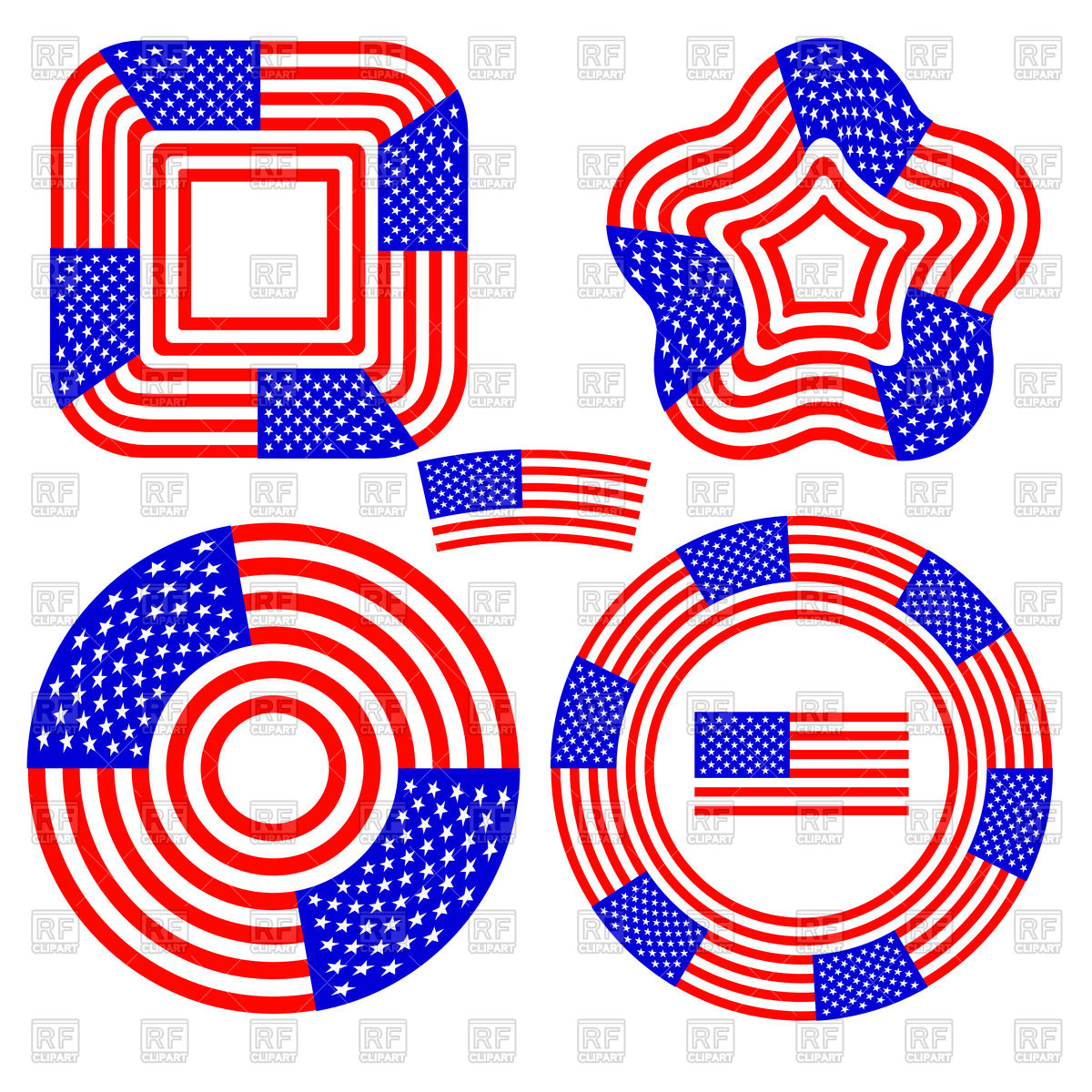 1200x1200 Set Of Different American Flag Design Elements Royalty Free Vector