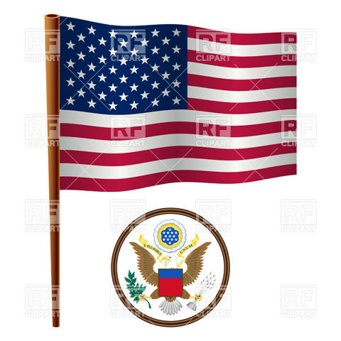 480x480 Usa Flag And Coat Of Arms Royalty Free Vector Clip Art Image