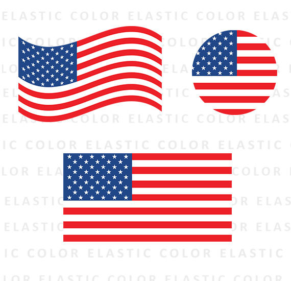Usa flag color. Collection of clipart free