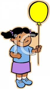 171x300 Art Image A Cute African American Girl Holding A Yellow Balloon