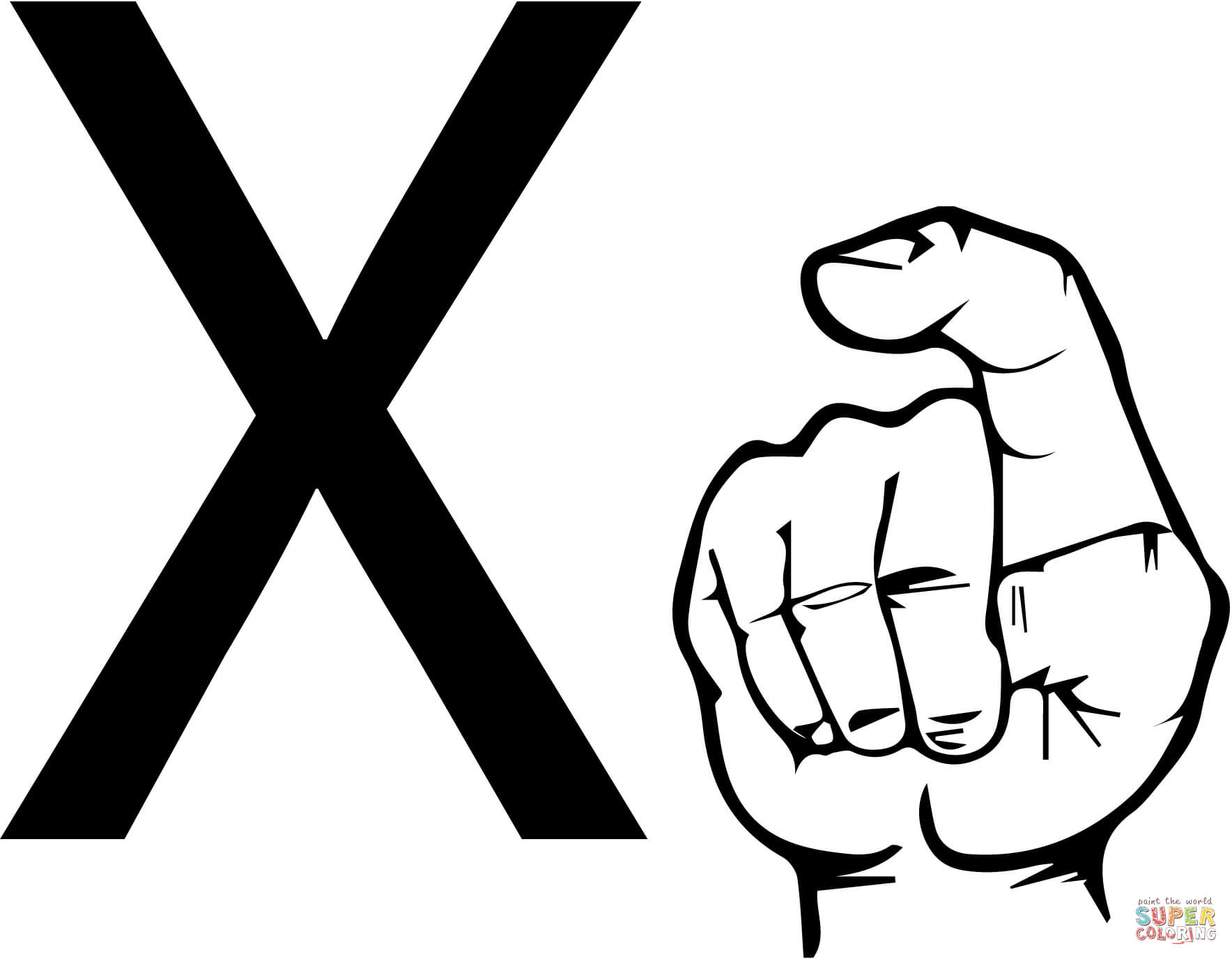 1768x1376 Asl Sign Language Letter X Coloring Page Free Printable Coloring