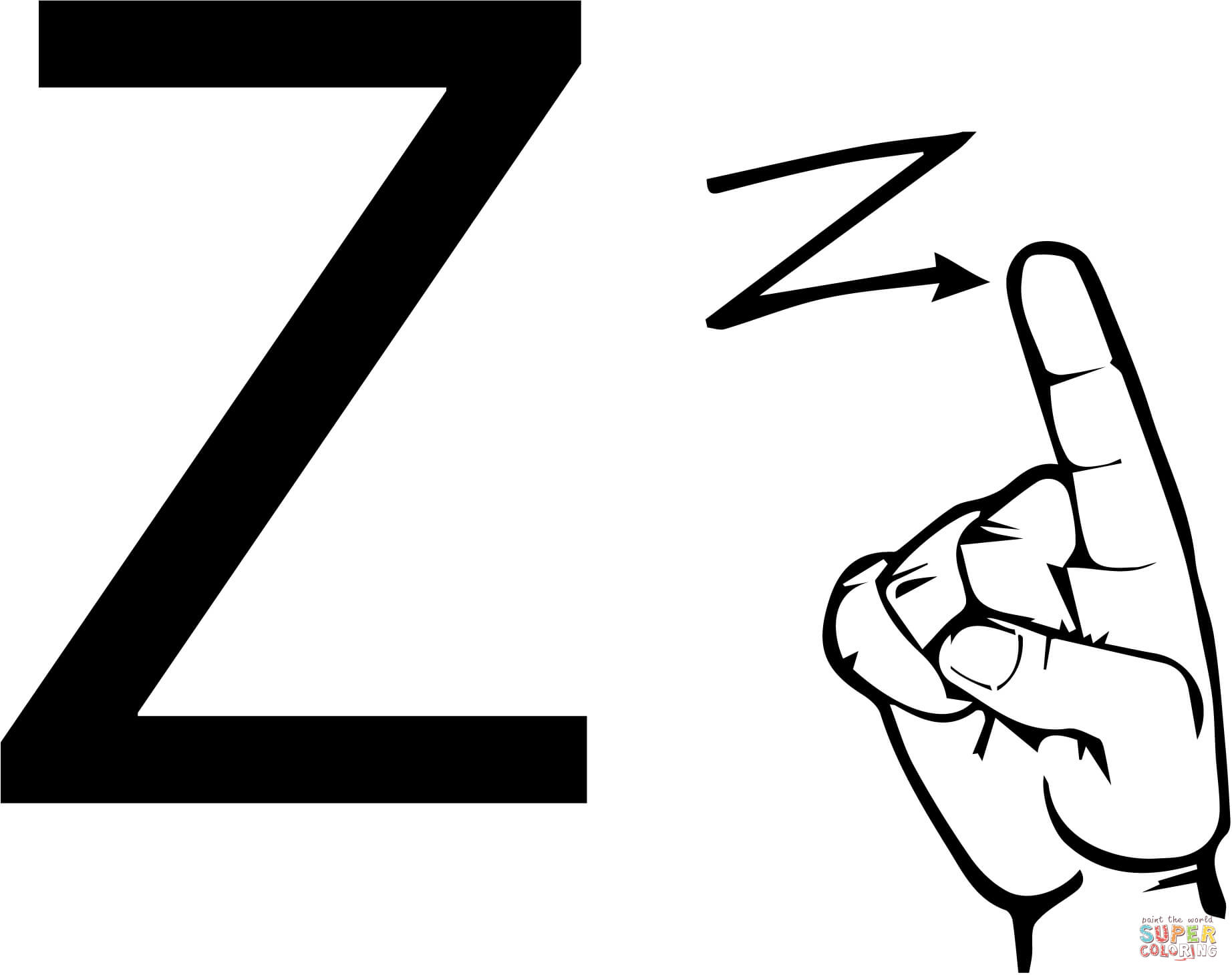 1844x1460 Asl Sign Language Letter Z Coloring Page Free Printable Coloring