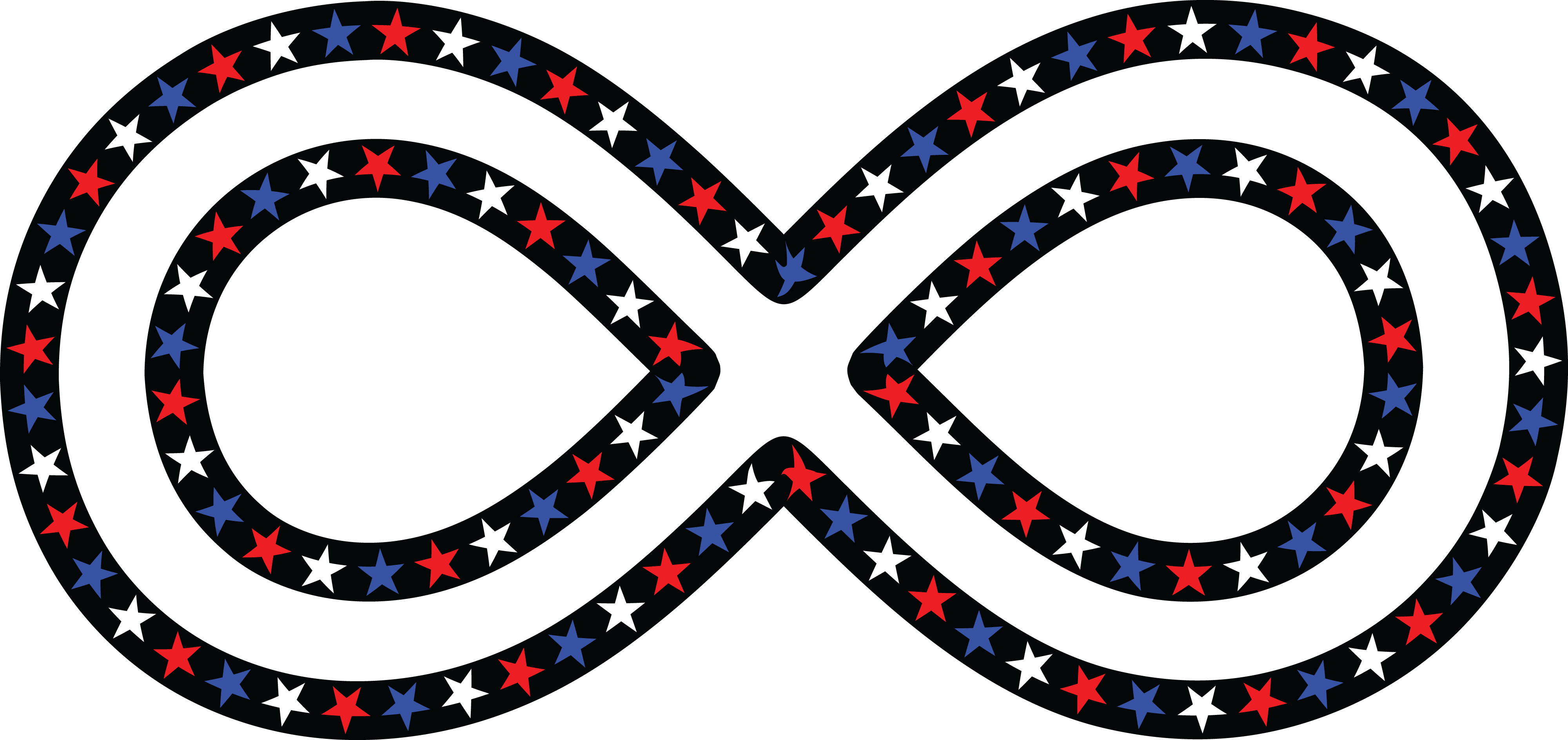 4000x1888 Free Clipart Of A Patriotic American Star Patterned Infinity Symbol
