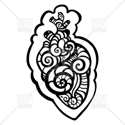 400x400 Ethnic Tracery Of Anatomical Heart For Tattoo Royalty Free Vector
