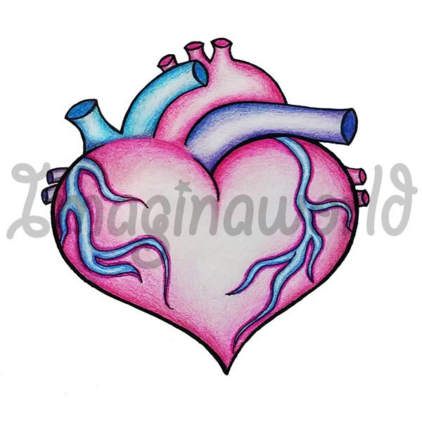 600x600 Anatomical Heart Morph Tattoo By Imaginaworld