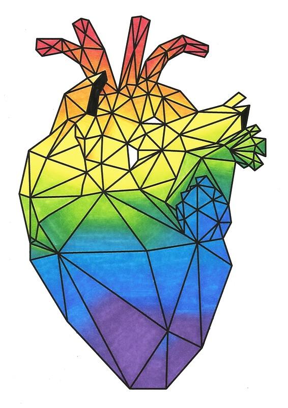 566x800 Geometric Rainbow Anatomical Heart Posters By Lpdesignsandart