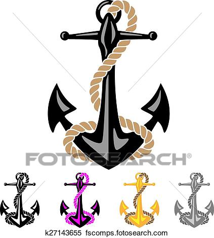 423x470 Clipart Of Anchor With Rope K27143655