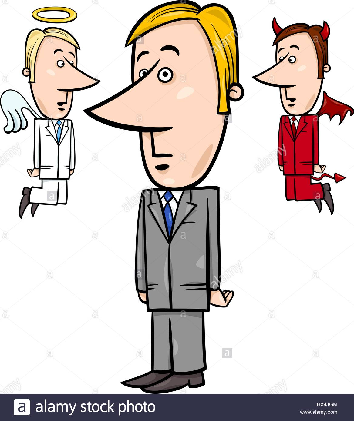 1167x1390 Concept Cartoon Illustration Of Businessman With Angel And Devil